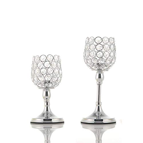 VINCIGANT Silber Kristall Kerzenständer Vintage 2er Set für Hochzeit Dekoration Couchtisch Dekoration, 20cm&25cm Höhe