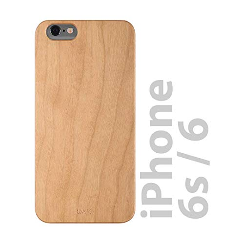 iATO iPhone 6 / 6s Wooden Case - Real Cherry Wood Grain Premium Protective Shockproof Slim Back Cover - Unique, Stylish & Classy Snap on Thin Bumper Accessory Designed for iPhone 6 / 6s