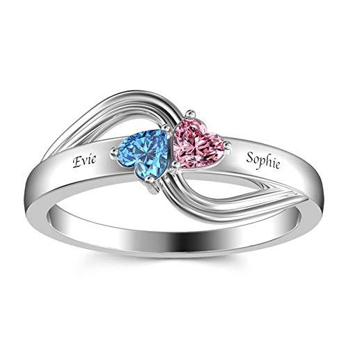 Anillo con nombre personalizado Personalización 2 anillos con piedra natal Anillo en forma de corazón Anillo de promesa(Plata 22)