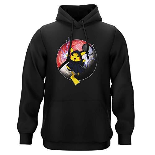 Sweat-Shirt à Capuche Noir Parodie Star Wars - Pokémon - Pikachu et Palpatine Darth Sidious - Pika Dark Side : (Sweatshirt de qualité Premium de Taille 3XL - imprimé en France)
