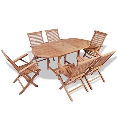 Tidyard Set da Pranzo per Esterni 7 pz in Teak,Set di mobili da Giardino con 1 Tavolo Allungabile e 6 Sedie Pieghevoli con Braccioli