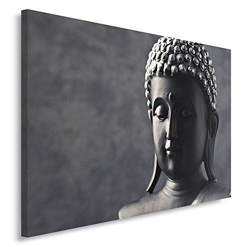 Feeby, Leinwandbild, Bilder, Wand Bild, Wandbilder, Kunstdruck 80x120cm, Buddha, SCHWARZ UND WEIß