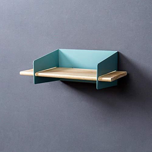MJJEsports 5 Kleur 20CM Drijvende Wandmontage Plank Hangende Houder Opslag IJzer Hout Display Boekenplank Beugel, Blauw, 1