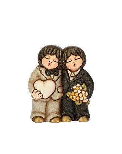 THUN® - Coppia di Sposi Lui+Lui con Cuore e Fiori - Regalo o Bomboniere di Matrimonio - Ceramica - I Classici
