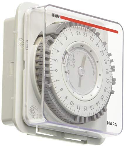 Vemer VP886600 elektromechanische Zeitschaltuhr Napa-RD, für Schalttafel, Hellgrau