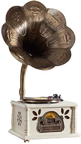 DFBGL Grammofono Retro Stereo Musica Giradischi Giradischi Vintage Grammofono Altoparlanti Bluetooth Radio Lettore CD USB Sub Integrato