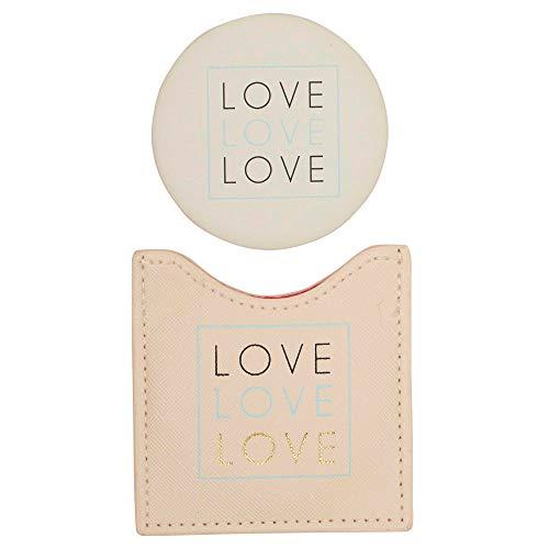 Draeger Spiegel Love – Runder Taschenspiegel zum Mitnehmen Geburtstag, für alle Anlässe – Maße 8,5 cm x 8 cm