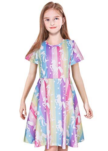 ModaIOO Vestido Casual para niñas, diseño de Unicornio con diseño de Mariposa, Manga Larga/Corta, sin Mangas, hasta la Rodilla, maxivestidos para niños - Multi Color - 3-4 años