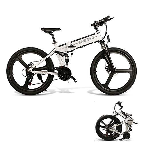LCLLXB SIMEBIKE 26 Pulgadas neumático Gordo Bicicleta eléctrica 350W 48V Nieve E-Bici Beach Cruiser Hombre Mujeres Montaña e-Bike Pedal Assist, batería de Litio Frenos de Disco,White