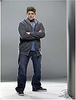 SGU Stargate Universe 8x10 Photo David Blue Grey Hoodie Over Blue Tee & Jeans Arms Crossed Light Grey Background kn