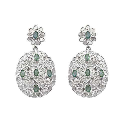 Shine Jewel 6.1 CT Pendientes colgantes de esmeralda con diamante en rebanada Plata de ley 925 Platino plateado Joyas de piedras preciosas Regalo para mujeres