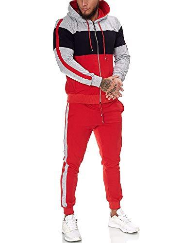 OneRedox | Herren Trainingsanzug | Jogginganzug | Sportanzug | Jogging Anzug | Hoodie-Sporthose | Jogging-Anzug | Trainings-Anzug | Jogging-Hose | Modell JG-1082 Grau-Schwarz-Rot M