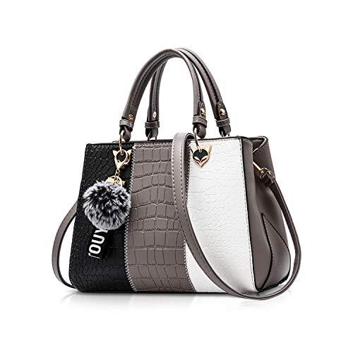 NICOLE & DORIS Damen Handtasche Umhängetasche Henkeltasche Kuriertasche Elegant Damen Handtaschen mit Kaninchen Pelz Kugel Plüsch Schlüsselring Grau 1