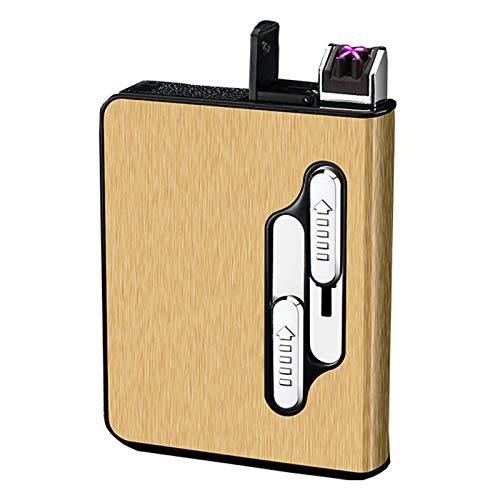 BNMY Estuche De Cigarrillos con Encendedor Eléctrico Recargable USB para Cigarrillos De Paquete Completo 12 Piezas, Estuche De Cigarrillos Impermeable para Acampar Al Aire Libre, Senderismo,Oro
