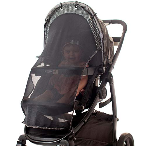 Sun Shade for Strollers (Long). Universal Adjustable SPF 30+ Sunshade with See Through. Your Baby Will See The World and Will Be Protected. by IntiMom