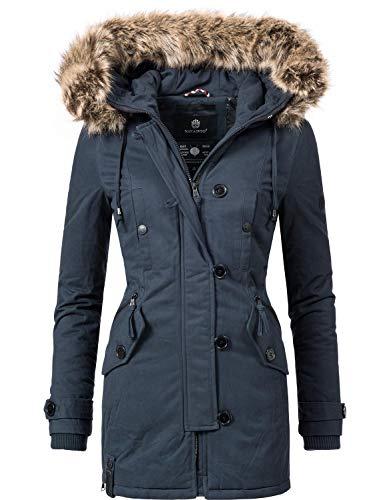 Navahoo Damen Baumwoll Winterparka Winterjacke Pauline (vegan hergestellt) Blau Gr. XXL