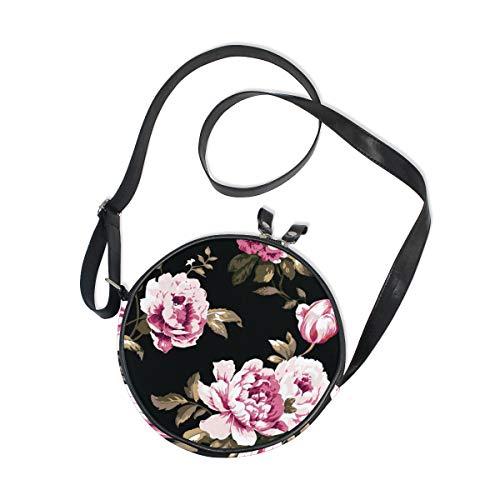 Bolso bandolera para mujer, estilo vintage, rosas, piel negra, con cremallera, para teléfono móvil, redondo, color negro