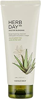 The Face Shop Herb Day 365 Cleansing Foam, Aloe & Greentea, hydrating, moisturizing and gentle face wash|SLS and Paraben f...