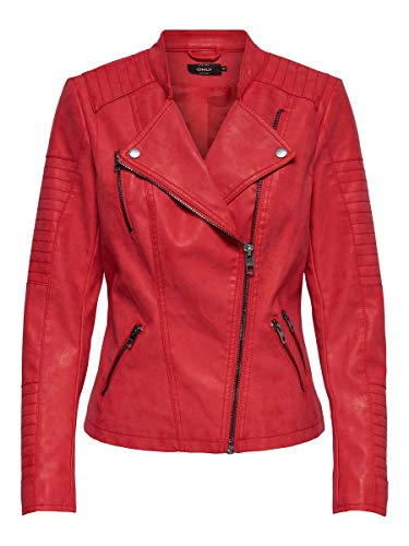 ONLY NOS onlAVA Faux Leather Biker OTW Noos Chaqueta, Rojo High Risk Red, 38 para Mujer