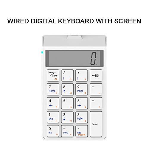 WYSSS Kabelgebundene numerische USB-Tastatur Tastatur mit 19 Tasten und Bildschirm und Taschenrechner Ergonomisches Design und Kompatibilität mit Mehreren Geräten Anwendbar für Apple Android