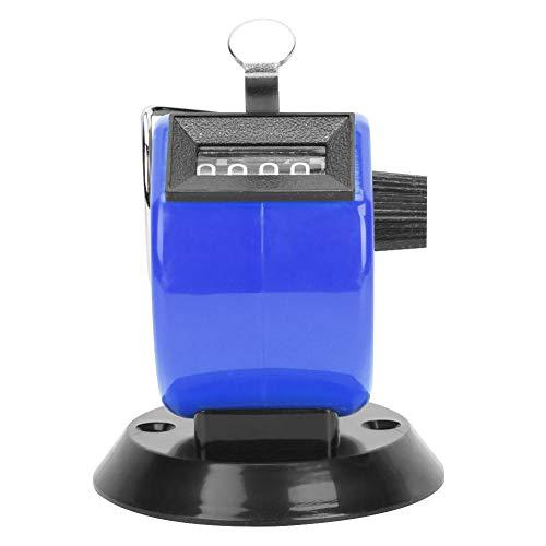 Handräknare 4-siffrig disk Handräknare ABS plastskal Mekanisk knapp Återställ handräknare med krok Sport (blå)