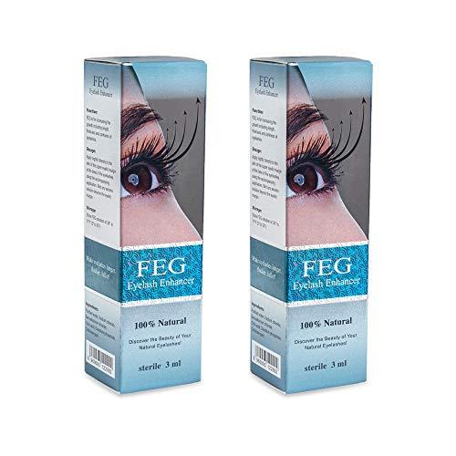 FEG Eyelash Rapid Eye Lash Growth Serum | For Lash and Brow | Fast Effective Growth Creates Longer & Darker Eyelashes | Best Natural Eyelash Serum to Grow Lashes in the Market | 2 Pack