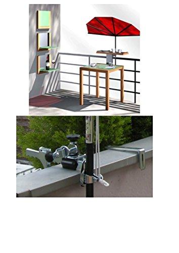 NEU - Sonnenschirm - UPV 50 + - MIT Balkon BRÜSTUNGS - Halterung für Geländer bis Ø 17 cm + Balkon - UV HOCHSCHUTZ - FÄCHERSCHIRM Holly\'sun ® - Bezug 100{64848931f80deee5f624ddc549ffcaef487b5091df6384e7de8ee075efe62814} POLYACRYL - ZANGENBERG - ROT -