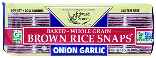 Edward & Sons Brown Rice Snaps, Onion Garlic, 3.5 Ounce Packs (Pack of 12)