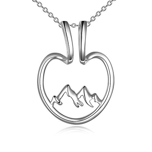 VENACOLY Ring Holder Necklace for Women Sterling Silver Snowy Mountain Pendant Open Heart Keeper Necklace