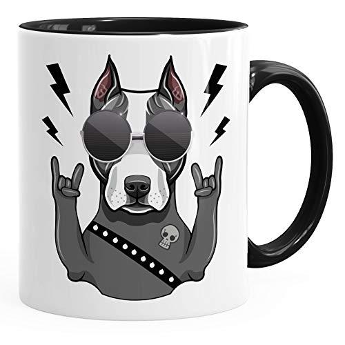 MoonWorks® Kaffee-Tasse mit Motiv Hund Heavy Metal Comicstil Metalhand Bürotasse lustige Kaffeebecher schwarz Keramik-Tasse