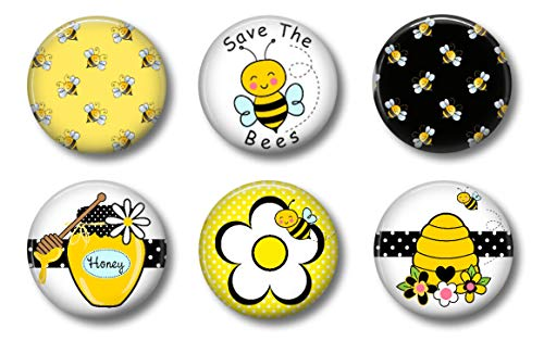 Bee Magnets - Set of Six 1.75' Button Style - Cute Fridge Magnets. Locker Magnets for Home, School or Office Gift Set