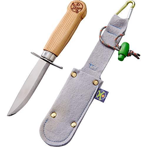 HABA 304245 - Terra Kids Outdoormesser, ergonomisches Freizeit- und Schnitzmesser für Kinder, feststehende Klinge aus rostfreiem Stahl, mit Holzgriff, Filzscheide und Alu-Karabiner