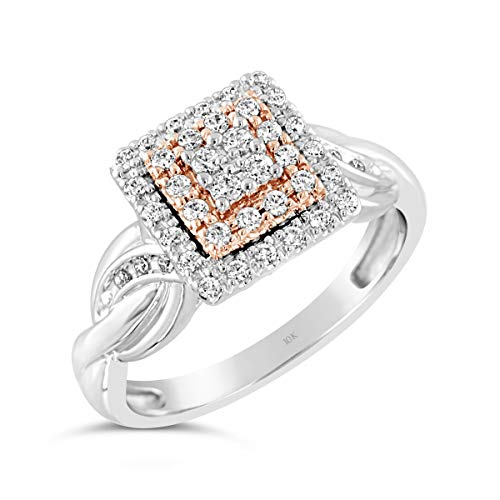 Brilliant Expressions 10K Rose and White Gold 1/3 Cttw Conflict Free Diamond Square Halo Twisted...