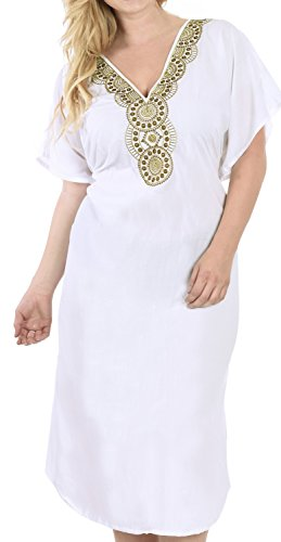 LA LEELA Mujeres caftán Rayón túnica 3D HD Impreso Kimono Libre tamaño Largo Abaya Vestido Jalabiyas de Fiesta para Loungewear Ropa de Dormir Playa Todos los días Cubrir Vestidos Ghosts Blanco_S392