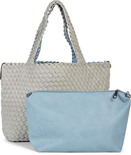 styleBREAKER XXL Wendetasche in Flecht-Optik, Shopper Tasche, 2 Taschen, Handtaschen Set, Bag in Bag, Schultertasche, Damen 02012163, Farbe:Hellgrau/Hellblau