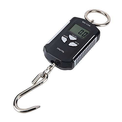 Básculas digitales para colgar, báscula de pesca portátil, gancho para colgar, báscula de peso LCD 200 kg/100g para granja, equipaje