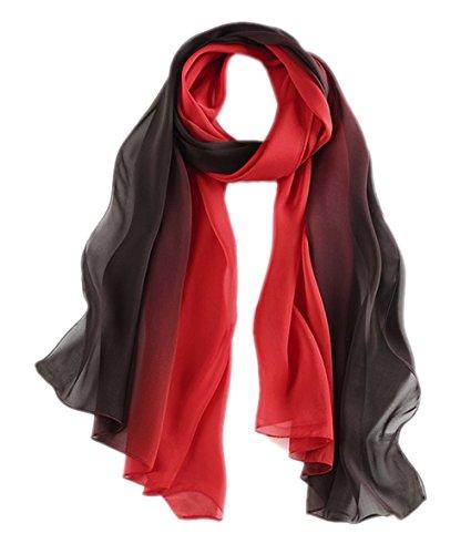Honeystore Damen 2017 Neuheit Fashion 100% Seide Chiffon Langer Farbverläufen Schal, 180 * 70 CM Schwarz und Rot