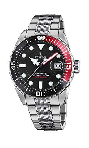 FESTINA Reloj Modelo F20480/4 de la colección AUTOMATICO, Caja de 41 mm Negro con Correa de Acero para Caballero