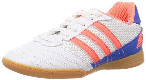 Adidas Super Sala J,  Zapatillas Deportivas Fútbol Unisex Infantil niños,  Blanc Corail Vif Bleu Ciel,  33 EU