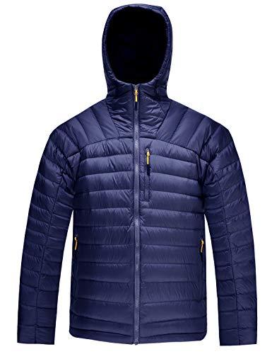 HARD LAND Herren Ultraleicht Daunenjacke Steppjacke mit Kapuze Winterjacke Packable Mantel (XXXL, Königsblau)