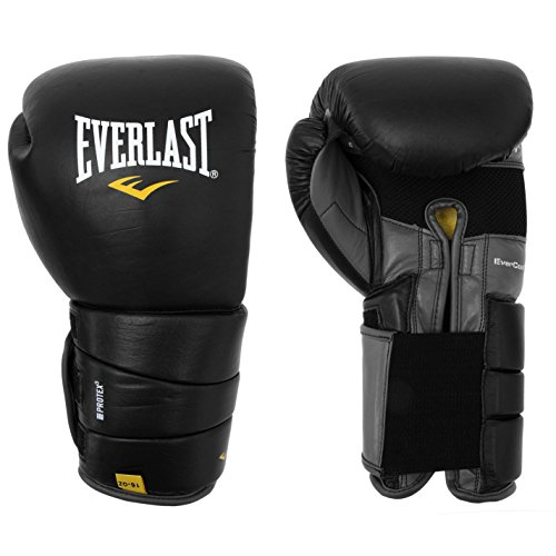 Everlast Unisex Leder Pro 3 Boxen Handschuhe Schwarz 14oz