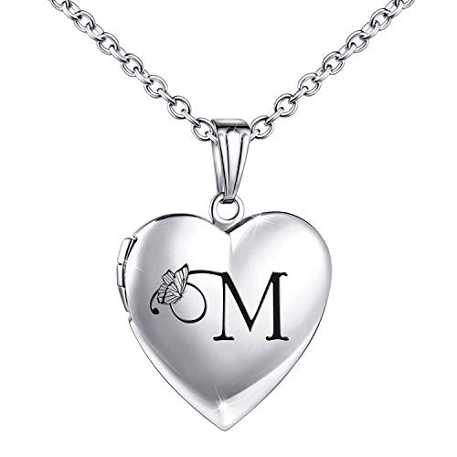 Locket Necklace that Holds Pictures Initial Alphabet Letter Heart Shaped Photo Memory Locket Pendant Necklace (M)