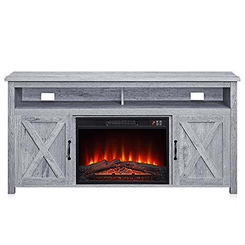 """BELLEZE 014-HG-41007-HT-LGY 58"""" Corin Barn Door Wood Fireplace Stand with Remote Control for TV"""