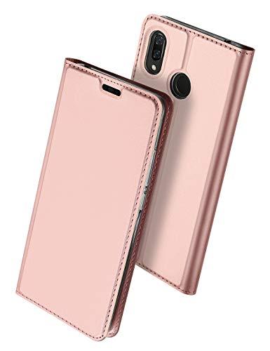 Huawei nova3 ケース 手帳型 uovon 軽量 ファーウェイ nova 3 専用 ポケット カード収納あり マグネット スタンド機能付き 高級 PU レザー+TPU素材 耐衝撃 全面保護カバー (nova 3, ローズゴールド)