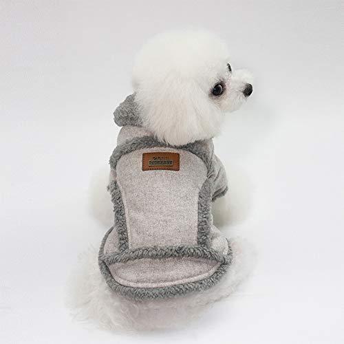 DishyKooker Warmer Haustier-Sweatshirt, Hundemantel, mit Knopf, für Teddy, Zwergspitz, Hellbraun S