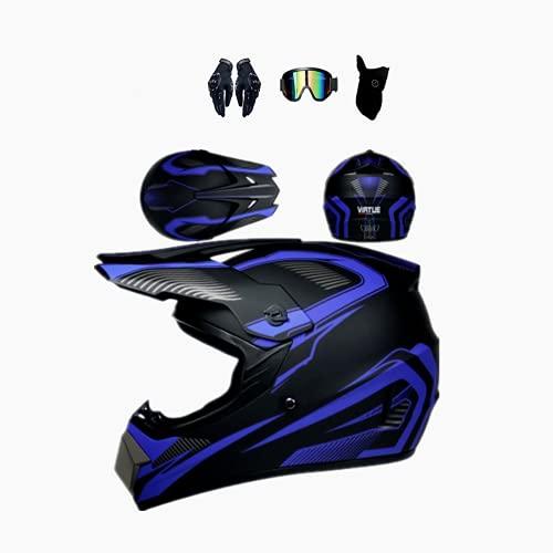 Casco de motocross Off Road con Goggles, estándar de seguridad DOT, casco de moto para hombre y mujer, casco de motocross negro, carcasa ABS (A4, M (57-58 cm)