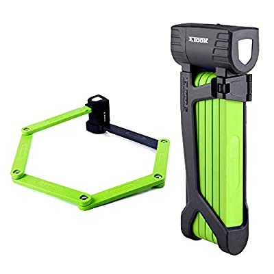 Bike Lock Made Steel Alloy Folding Bicycle Lock Anti-Sawing Anti-Drilling with Mount Bracket (Green)