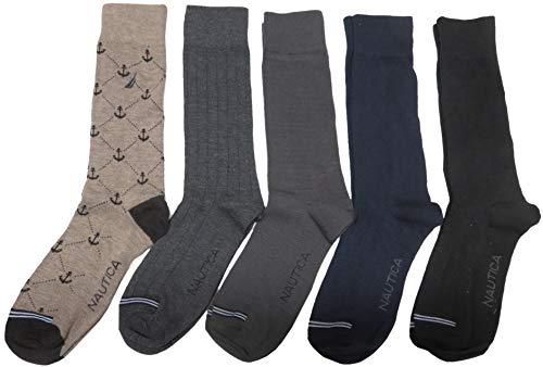Nautica Men's Dress Crew Socks, Sock Size 10-13, Assorted Colors, Pack of 5