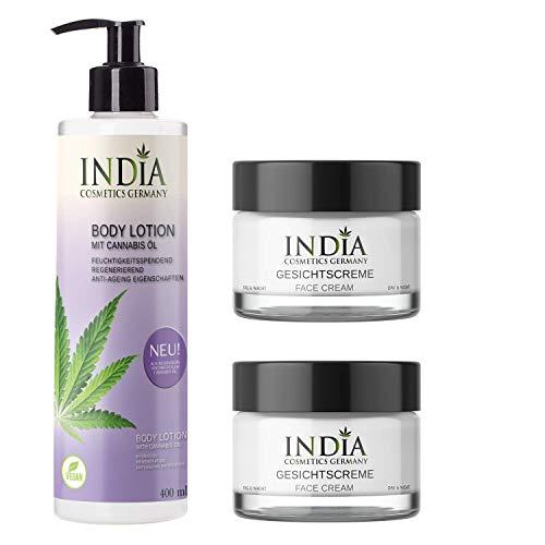 Face & Body-Set von India Cosmetics Germany, mit Bio Cannabis Öl in veganer Premiumqualität. Bestseller 2 x Gesichtscreme und 1 x Bodylotion