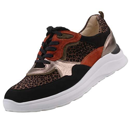 Waldläufer Damen Sneaker Weite H Schwarz/Braun/Gold, Schuhgröße:EUR 37.5